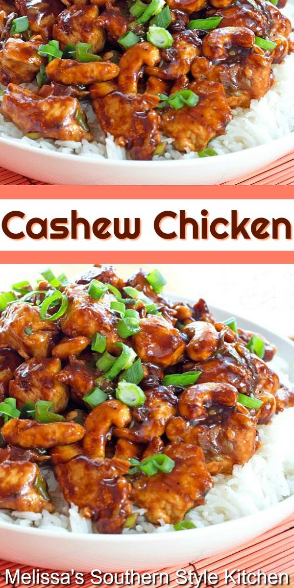 Make this better-than-take-out Cashew Chicken at home #cashewchicken #chickenrecipes #chickenbreastrecipes #cashews #Asianinspired #dinnerideas #dinner #chicken #asianchicken