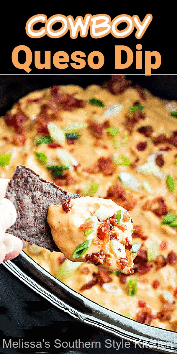 Simmer this flavorful Kickin' Cowboy Queso Dip in your slow cooker #queso #quesodip #diprecipes #cheesedip #cheese #easyrecipes #footballfood #partyfood #appetizers #crockpotrecipes #slowcookerrecipes