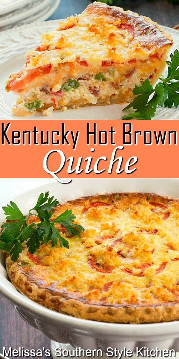 This amazing quiche takes all of the flavors of a hot brown sandwich transforming them into a delicious start to your day #hotbrown #kentuckyhotbrown #quiche #hotbrownquiche #turkeyrecipes #brunch #holidaybrunch #quicherecipes #southernfood #southernrecipes