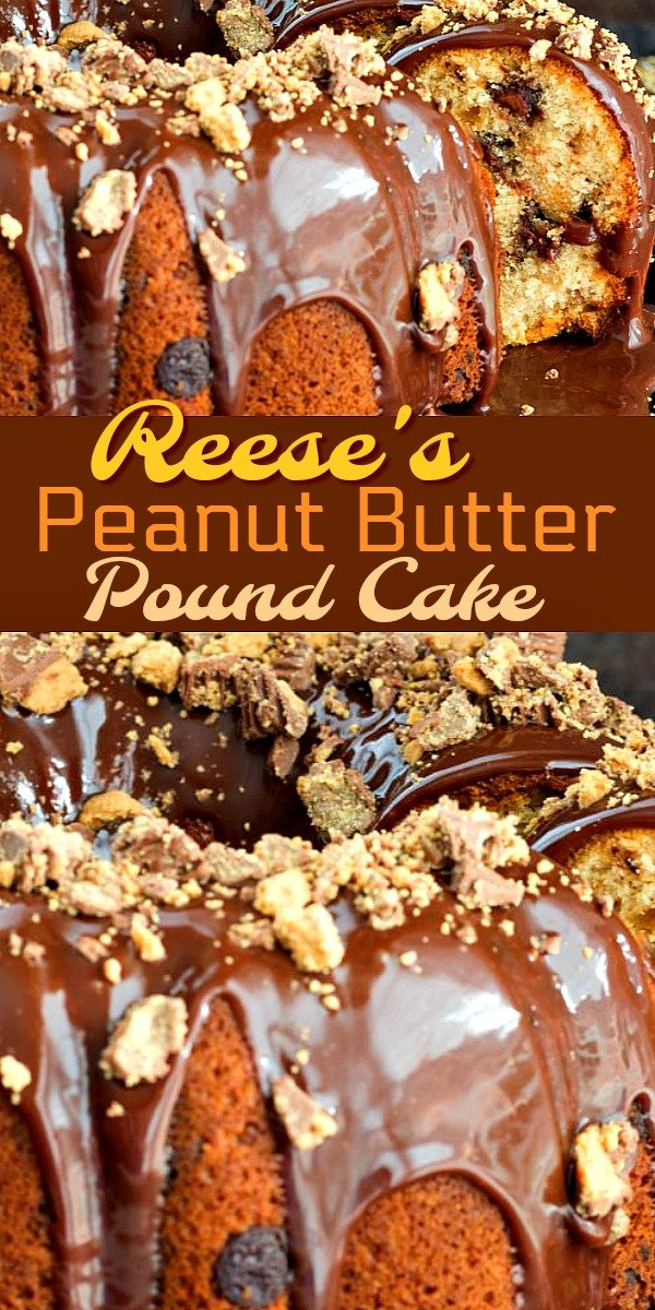 Peanut butter cups and pound cake collide in this delectable chocolate drizzled homemade cake #reesescups #reesescake #reesespoundcake #cakerecipes #poundcake #peanutbutter #chocolate #cakerecipes #cake #holidaybaking #holidays #southernfood #southernrecipes