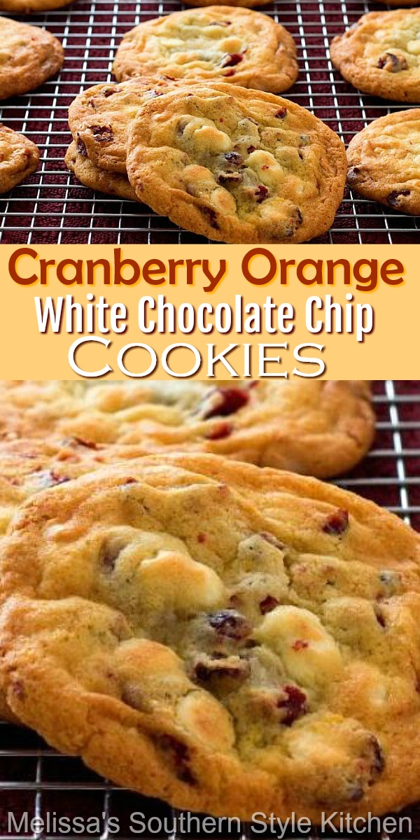 These buttery cookies are infused with the flavors of cranberry and orange zest and filled with creamy white chocolate chips #cranberrycookies #cranberryorange #cookies #cookierecipes #baking #holidaybaking #branberry #whitechocolatechipcookies #whitechocolate #christmascookies