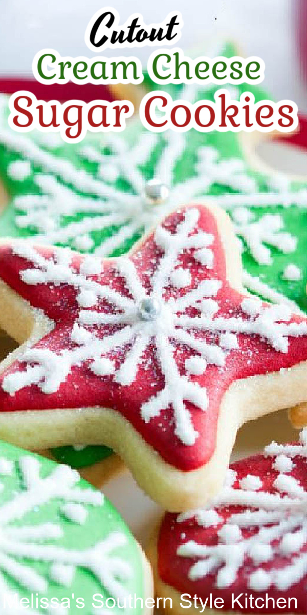 Add these Cutout Cream Cheese Sugar Cookies to your holiday baking plans #christmascookies #sugarcookies #bestsugarcookies #creamcheesecookies #cookierecipes #holidayrecipes #holidaybaking #creamcheesecookies #holidays #cookieswap #desserts #dessertfoodrecipes #southernrecipes #southernfood #melissassouthernstylekitchen