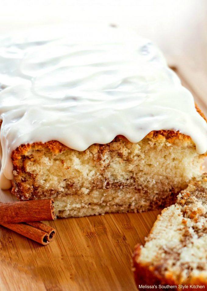 glazed Cinnamon Roll Bread on a platter