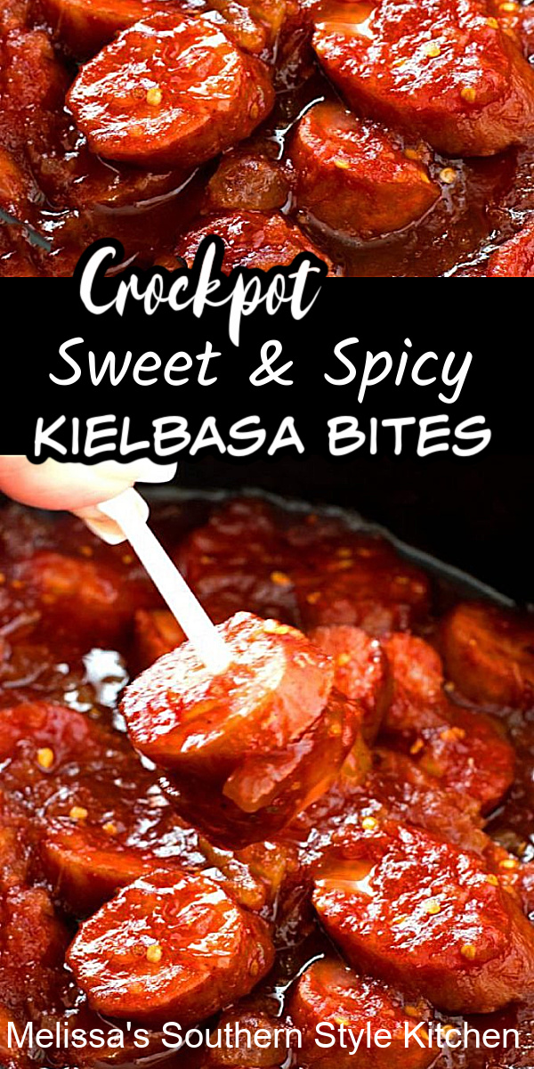 These Crockpot Sweet and Spicy Kielbasa Bites are perfect for casual entertaining, holiday and game day snacking #kielbasabites #crockpotrecipes #recipes #appetizerrecipes #kielbasa #sweetandspicykielbasabites #sausages #slowcookerrecipes #southernfood #southernrecipes #footballfood #newyearseve #partyfoodrecipes