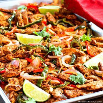 Sheet Pan Chili-Lime Chicken Fajitas in the oven