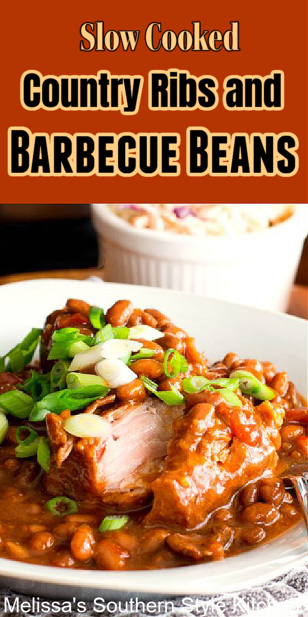 Assemble these Country Ribs and Barbecue Beans in your slow cooker and let it do the rest #slowcookedribs #slowcookedribsandbeans #barbecuebeans #barbecue #barbecueribs #barbecuebeans #countryribs #bonelessribrecipes #crockpotbeans #crockpotribs