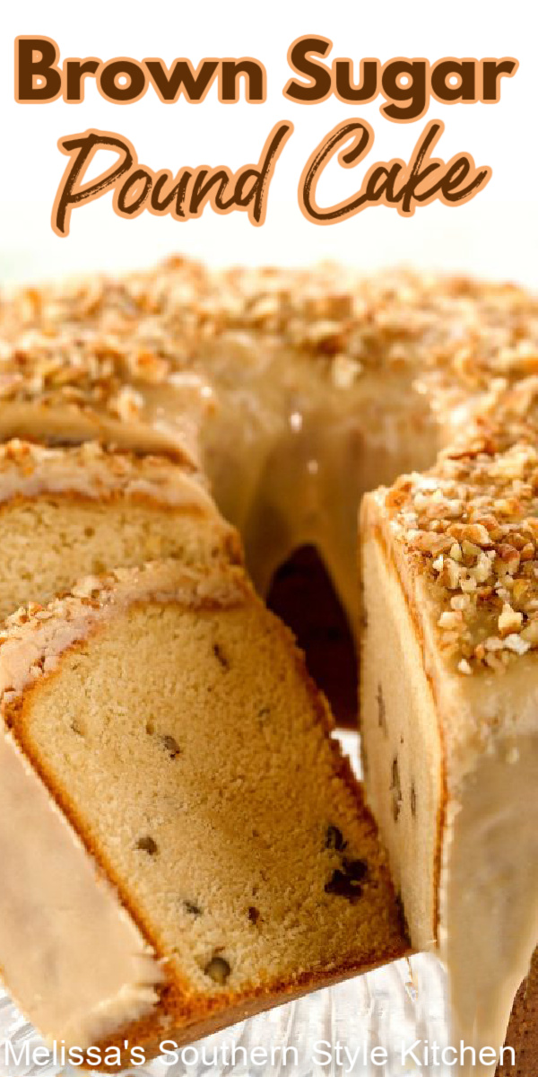 Buttery and full flavored, this Brown Sugar Pound Cake makes a spectacular sweet ending to any meal #poundcake #borwnsugarpoundcake #southerncakes #southernpoundcake #poundcakerecipes #dessert #dessertfoodrecipes #holidaybaking #thanksgivingdesserts #chrismtascakes #southernfood #southernrecipes