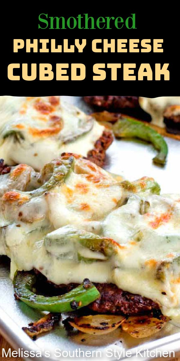Gooey Smothered Philly Cheese Cubed Steak topped with sweet onions, bell peppers and melted cheese #cheesesteaks #cubesteak #phillycheesesteak #lowcarbrecipes #lowcarb #beef #easyrecipes #southernrecipes