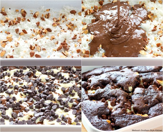 Step-by-step preparation and ingredients for Almond Joy Earthquake Cake