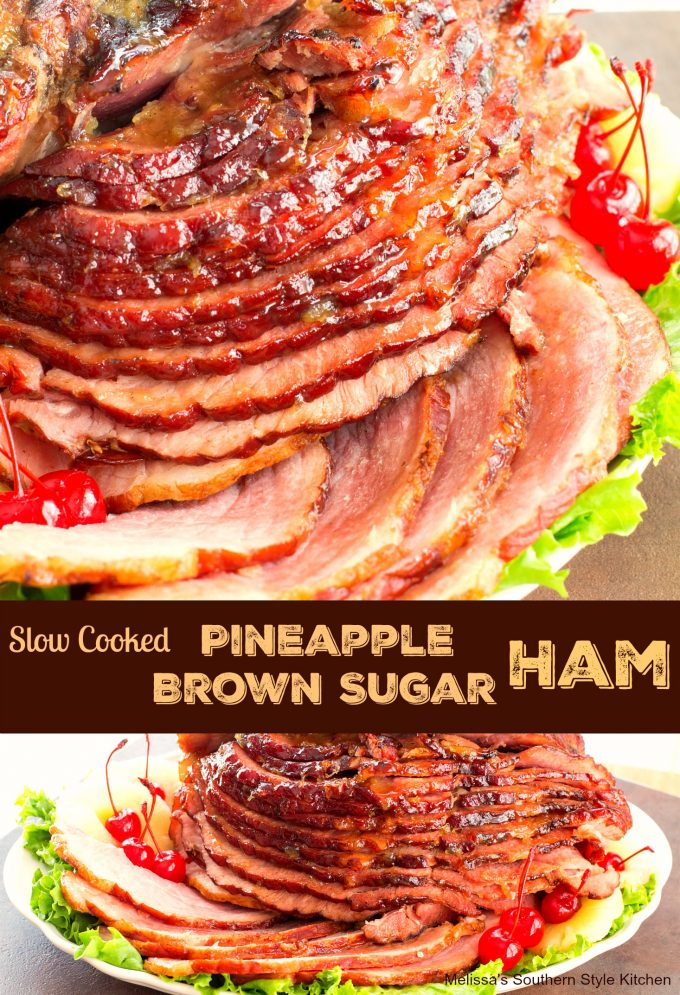 Slow Cooked Pineapple Brown Sugar Glazed Ham