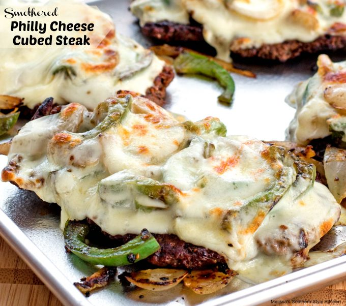 Smothered Philly Cheese Cubed Steak - melissassouthernstylekitchen.com