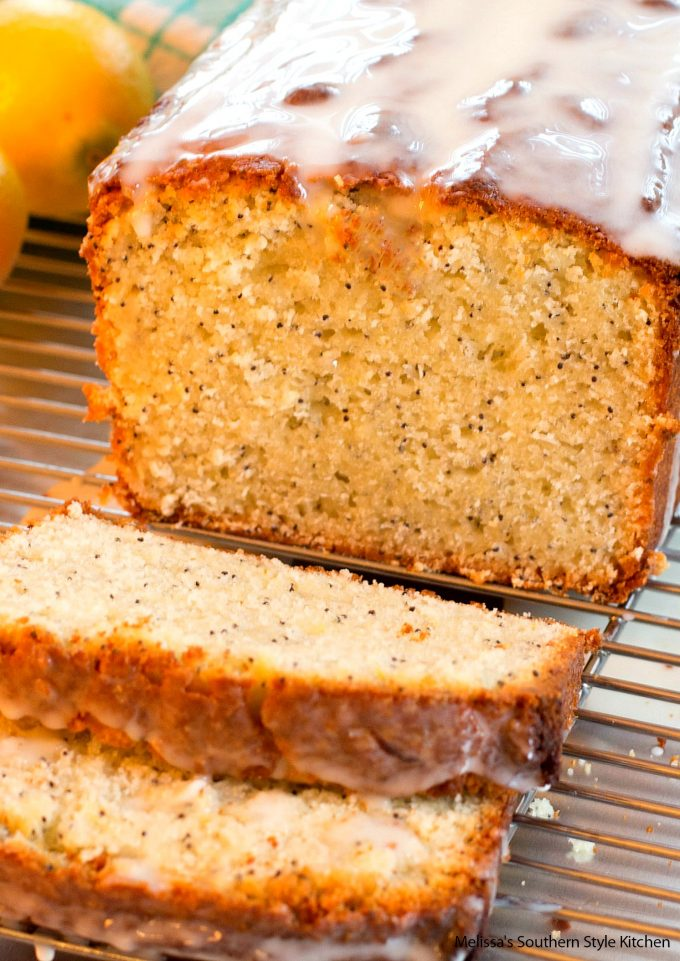 glazed lemon bread on a baking rack