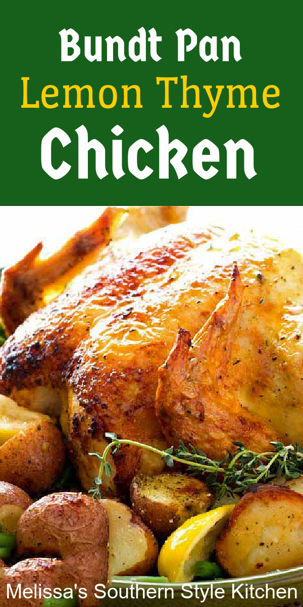 Make juicy roast chicken using your bundt pan! #BundtPanLemonThymeChickenwithRedPotatoes #roastchicken #bundtpanroastchicken #chickenrecipes #lemonchicken #lemonthymechicken #roastchicken #dinner #dinnerideas #southernrecipes #southernfood