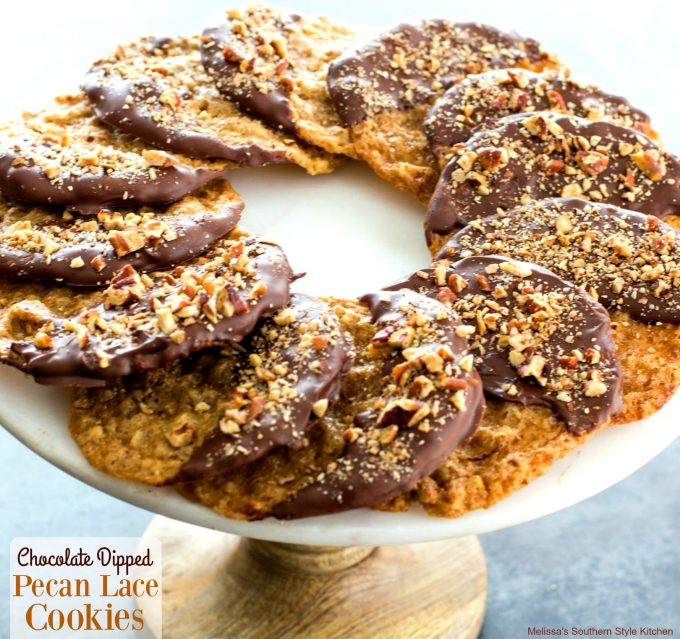 Chocolate Dipped Pecan Lace Cookies