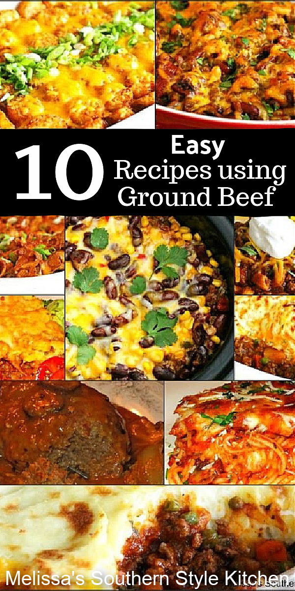 Turn ground beef into a feast with this collection of 10 Easy Ground Beef Meals #easygroundbeefrecipes #beef #bakedpspaghetti #cowboycasserole #groundbeefcasseroles #salisburysteak