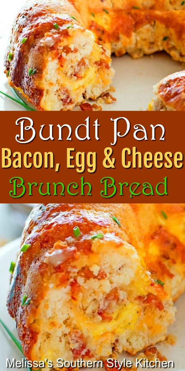 Bundt Pan Bacon Egg and Cheese Brunch Bread is a delicious start to ANY day #brunchbread #baconeggandcheese #cheesebread #bacon #bundtpan #buntpanbread #breadrecipes #biscuits #breakfast #eggs #southernfood #southernrecipes #holidaybrunch #holidayrecipes #buttermilkbiscuits