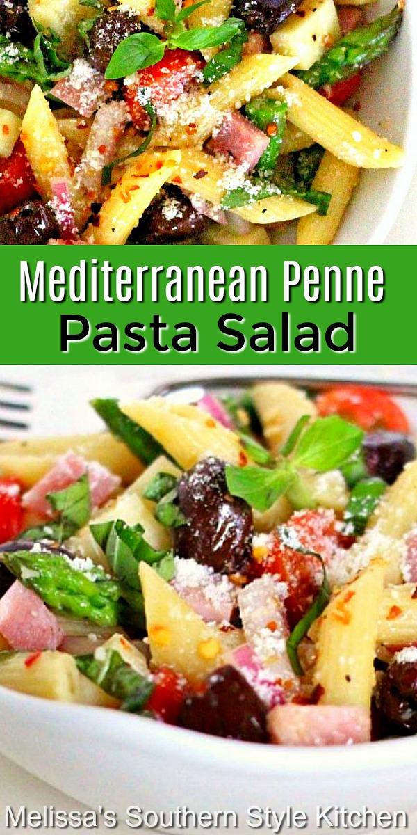 Fresh Mediterranean flavors shine in this scrumptious pasta salad #pastasalad #Italianpastasalad #pastasaladrecipes #pennepasta #mediterranean #saladrecipes #sidedishrecipes #dinner #dinnerideas #southernfood #southernrecipes #pasta