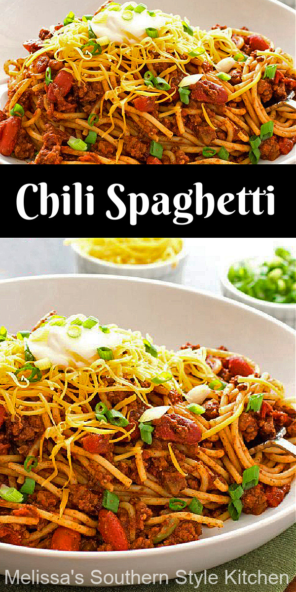 Add this kickin' Chili Spaghetti to your dinner menu #chilispaghetti #pasta #spaghetti #easyrecipes #dinnerideas #dinner #chilirecipes #chili #partyfood #southernreipes #southernfood #melisassouthernstylekitchen