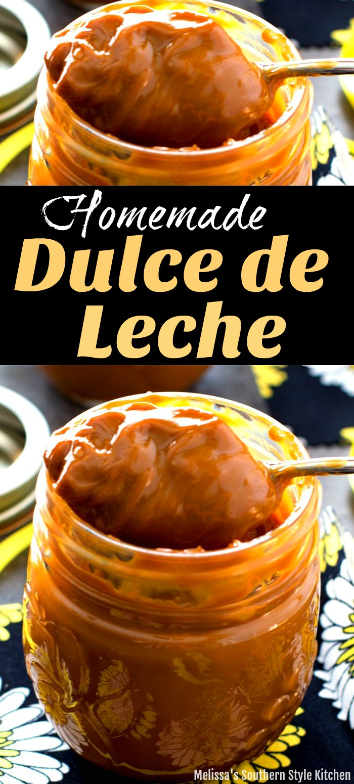 Make this rich and delicious Homemade Dulce de Leche Caramel in your slow cooker #caramel #condensedmilk #dulcedeleche #easyrecipes #crockpotcaramel #slowcookerrecipes #southernrecipes #southernfood #desserts #dessertfoodrecipes #melissassouthernstylekitchen