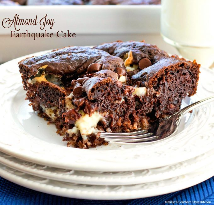Single piece of Almond Joy Earthquake Cake on a plate