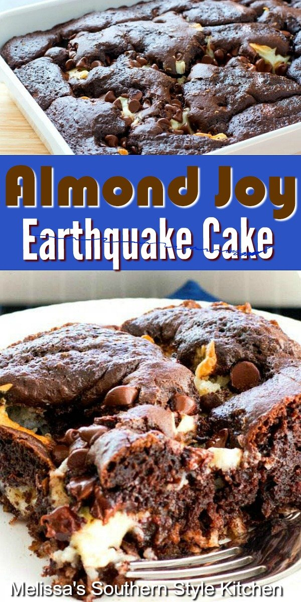 This Almond Joy Earthquake Cake is fun to make and eat! #almondjoycake #earthquakecake #almondjoycandy #coconut #chocolatecakes #cakes #cakerecipes #almondjoy #desserts #dessertfoodrecipes #southernrecipes #southernfood #holidaybaking #sheetcakes
