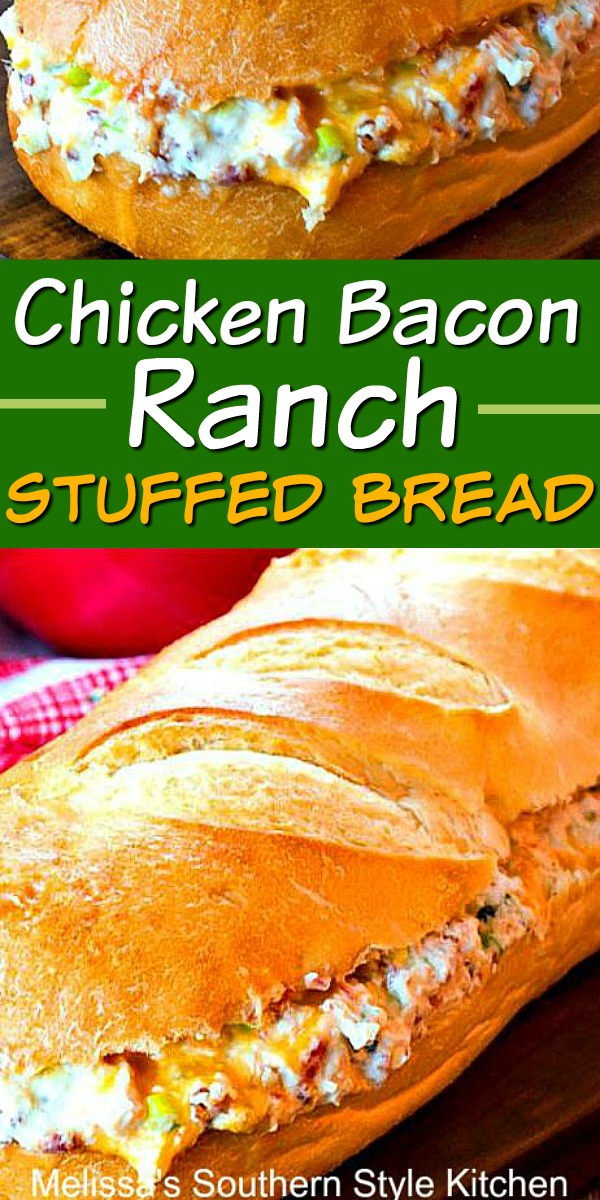 The family will flip for this Chicken Bacon Ranch Stuffed Bread #chickenbaconranch #chickenrecipes #stuffedbread #breadrecipes #dinnerideas #dinner #partyfood #bacon #ranchdressing #sandwich #sub #appetizer #snacks #southernrecipes #southernfood #melissassouthernstylekitchen #easychickenrecipes #rotisseriechicken #ranchdressing #bacon #chickenbaconranch