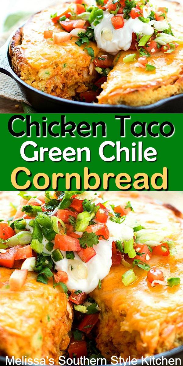 Chicken Taco Green Chile Cornbread #chickentacos #cornbreadrecipes #chickentacocornbread #tacos #southerncornbread #dinnerideas #food #dinner #soujthernfood #southernrecipes #greenchilecornbread