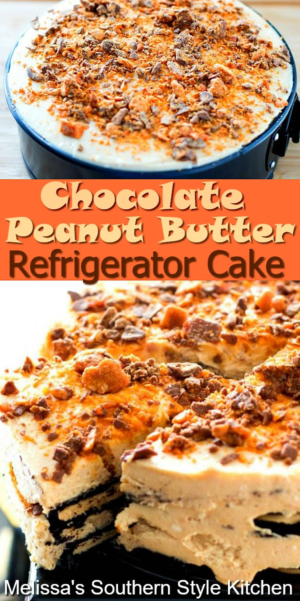This delicious no-bake Chocolate Peanut Butter Refrigerator Cake requires no oven time at all #chocolate #peanutbutter #chocolatecake #nobakedesserts #chocolatepeanutbutter #peanutbuttercake #Oreocake #desserts #dessertfoodrecipes #southernfood #southernrecipes