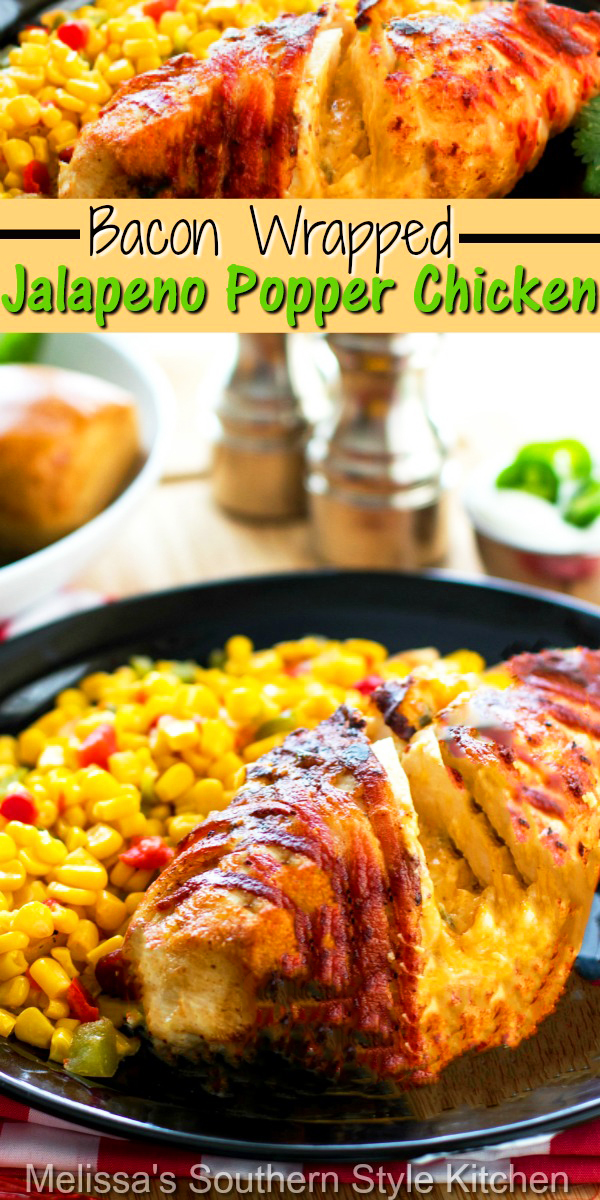 This fusion dish is always a winning dinner choice Grilled Bacon Wrapped Jalapeno Popper Chicken #jalapenopopperchicken #baconwrappedchicken #grilledchickenrecipes #grillingrecipes #easychickenrecipes #chickenbreastrecipes #dinnerideas #dinner #cheesestuffedchicken #jalapenopoppers #southernfood #southernrecipes