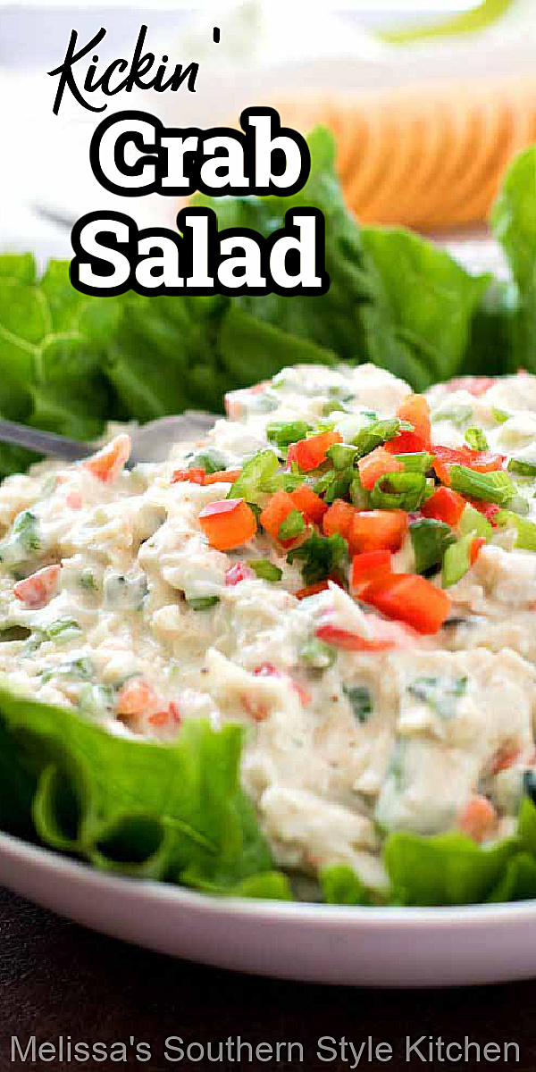 Serve this crab salad on croissants, in lettuce wraps or with crostini for dipping #crabsalad #crab #seafood #jumbolumpcrabmeat #dinner #snacks #dinnerideas #saladrecipes #southernfood #southernrecipes #crabrecipes