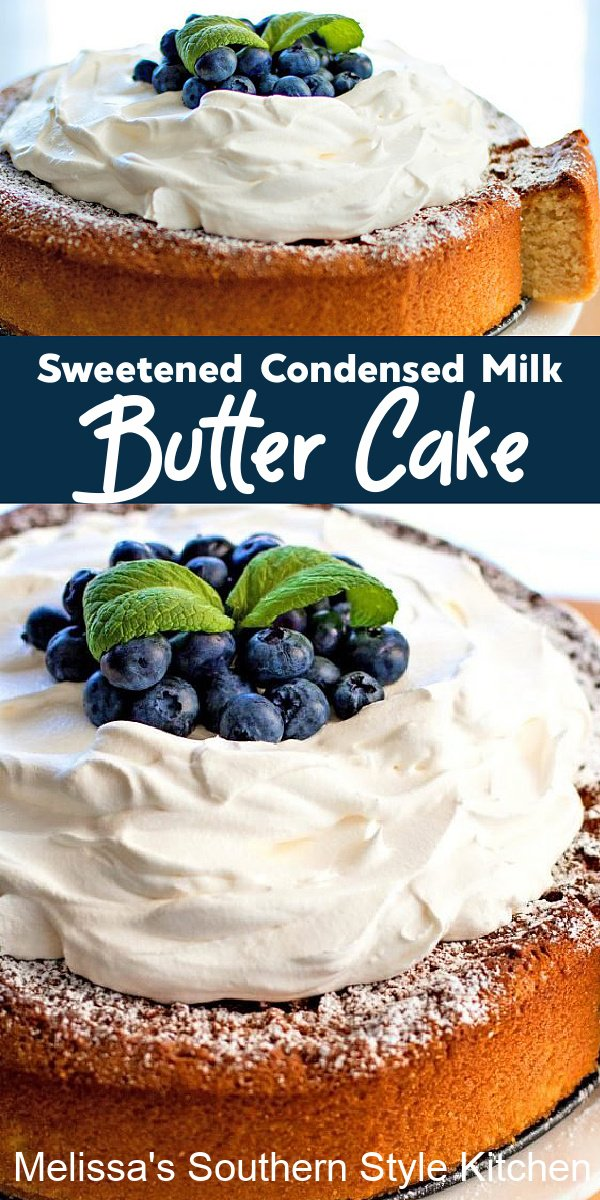Top this single layer Sweetened Condensed Milk Butter Cake with fresh fruit and whipped cream for a heavenly dessert #sweetenedcondensedmilkcake #buttercake #cakerecipes #southerncakes #southernrecipes #milkcake #desserts #bestcakerecipes