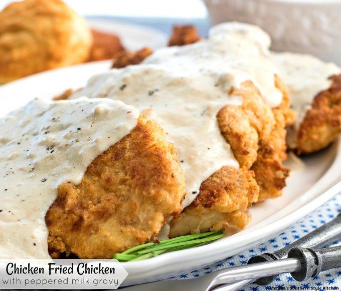 Chicken Fried Chicken with Peppered Milk Gravy on a platter