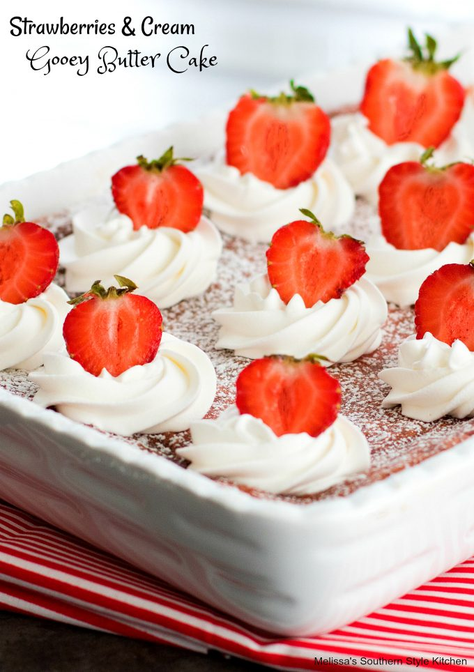 Strawberries and Cream Gooey Butter Cake