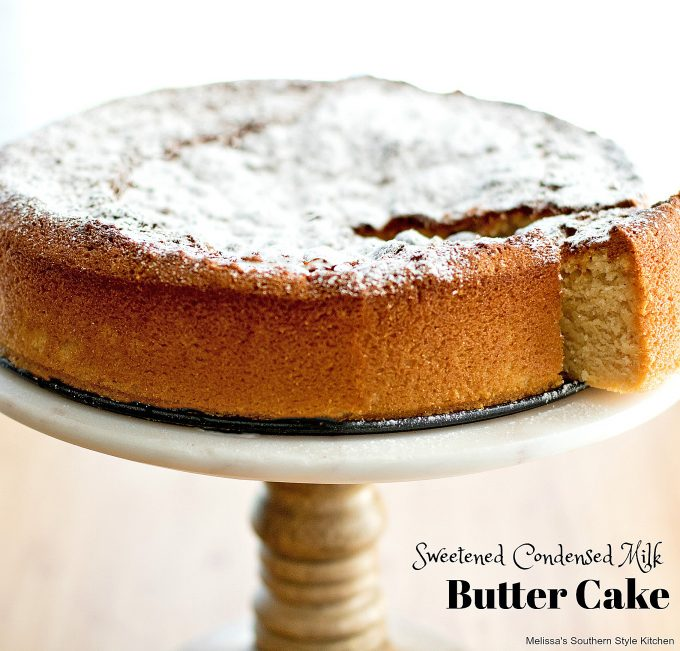 Sweetened Condensed Milk Butter Cake dusted with powdered sugar