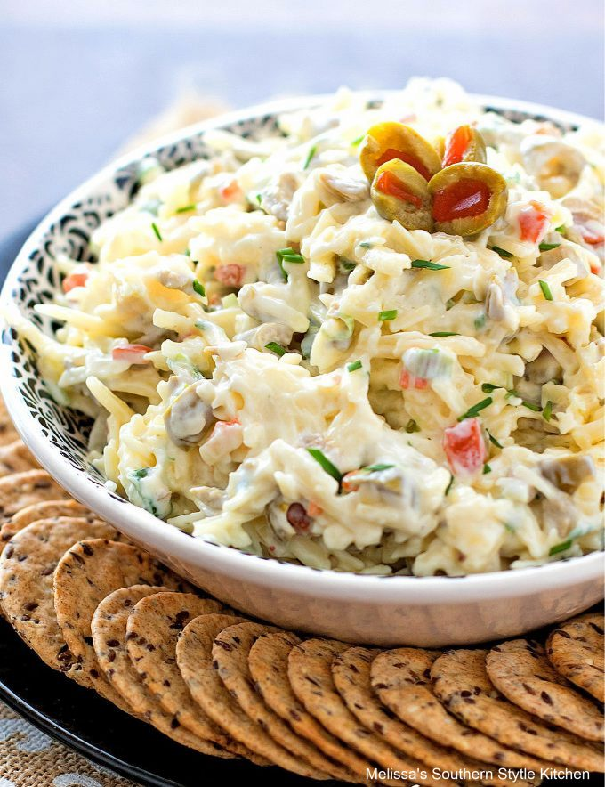 plated Spanish Olive Pimiento Cheese