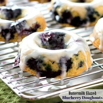 Buttermilk Glazed Blueberry Doughnuts