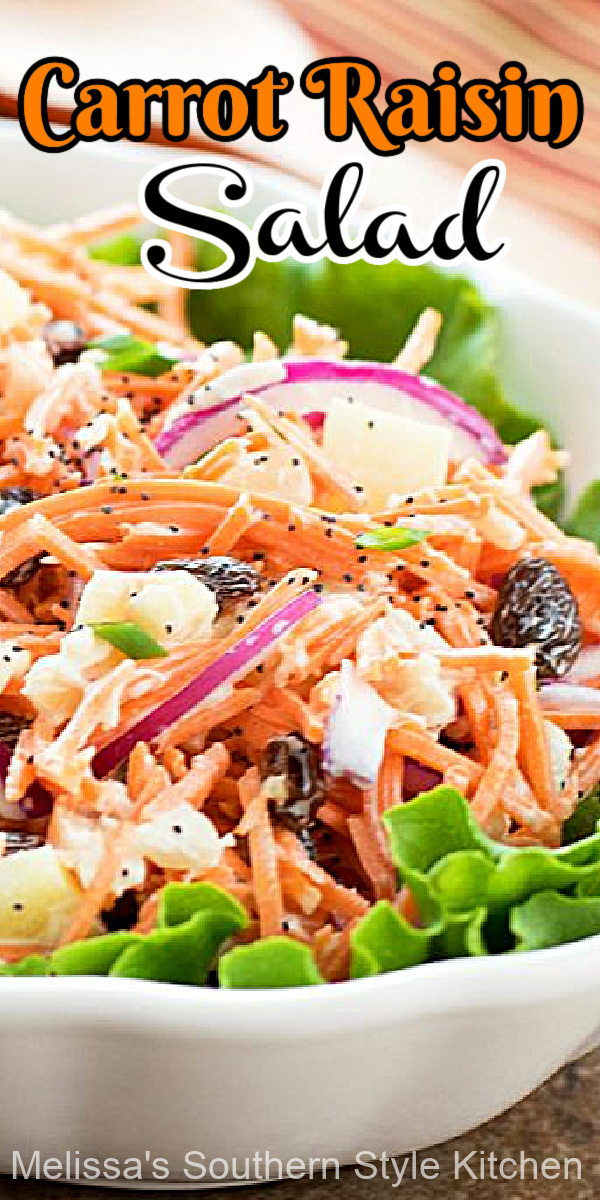 This fresh and flavorful salad is filled with crunch and color, too #carrotsalad #carrots #salads #carrotraisinsalad #saladrecipes #vegetarian #summersalads #sidedishrecipes #sourthernfood #southernrecipes