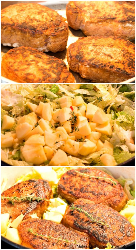 how to make Braised Pork Chops with Cabbage and Apples