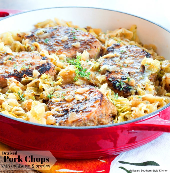 cooked Braised Pork Chops with Cabbage and Apples
