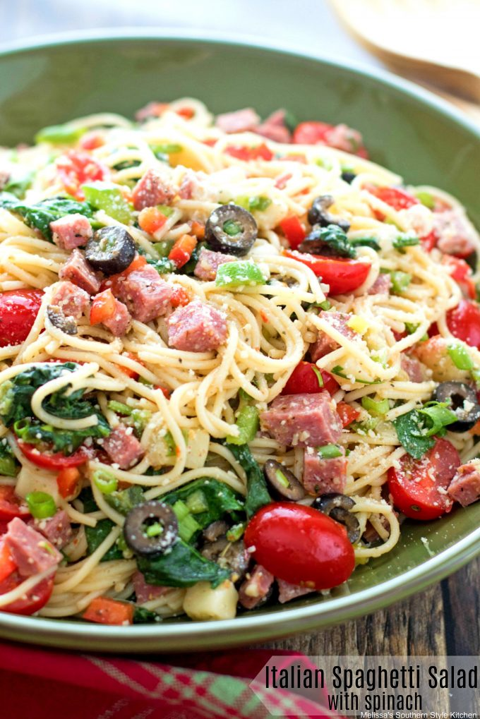 Italian Spaghetti Salad with Spinach