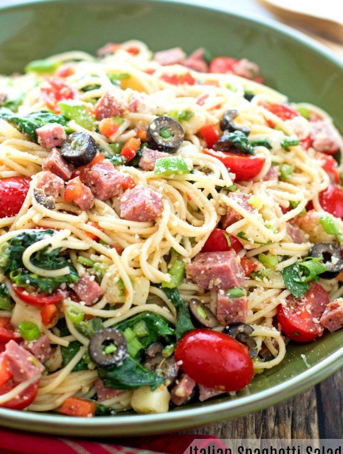 Italian Spaghetti Salad with Spinach