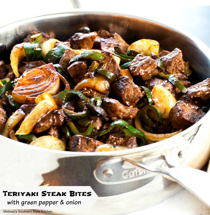 Teriyaki Steak Bites with Green Pepper and Onion