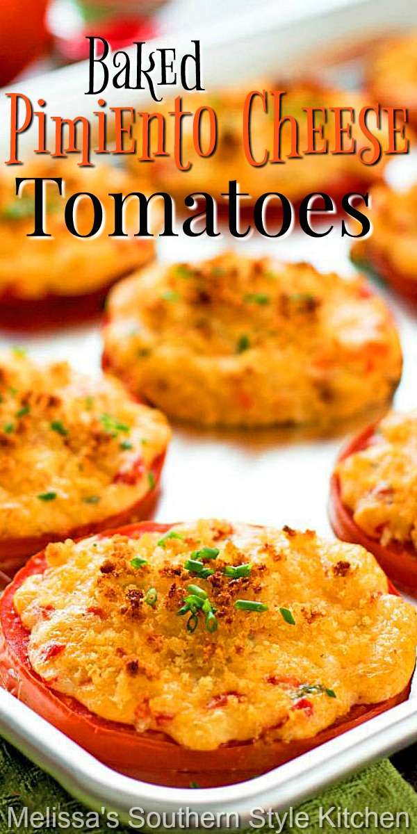 Topped with homemade pimiento cheese takes these baked tomatoes to another level of flavor. Enjoy as a side dish, on a burger and beyond #bakedtomatoes #pimientocheese #southernpimentocheese #tomatorecipes #cheesy #sidedishrecipes #appetizers #southernfood #southernrecipes #dinnerideas #dinner