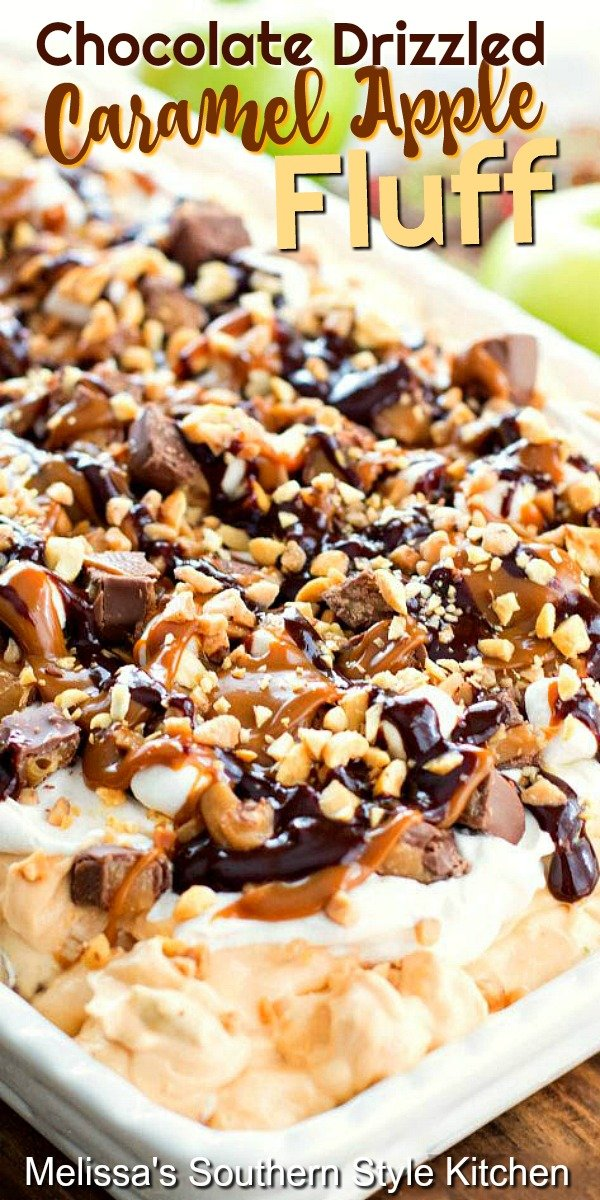 No cooking is required to make this Outrageous Chocolate Drizzled Caramel Apple Fluff #caramelapples #fluff #fluffrecipes #snickersbars #candybar #caramelpudding #apples #bbqdesserts #easyrecipes #southernfood #southernrecipes #chocolate #desserts #dessertfoodrecipes