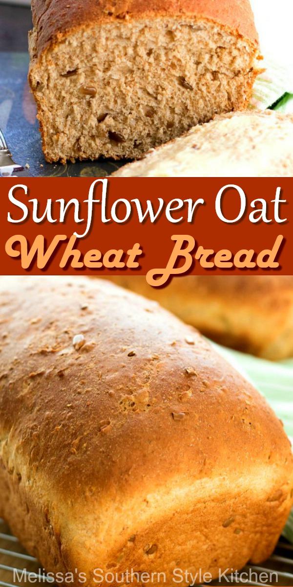 Sunflower Oat Wheat Bread #wheatbread #breadrecipes #homemadebread #sunflowerseeds #oatbread #dinnerideas #sandwiches #southernrecipes #southernfood #melissassouthernstylekitchen