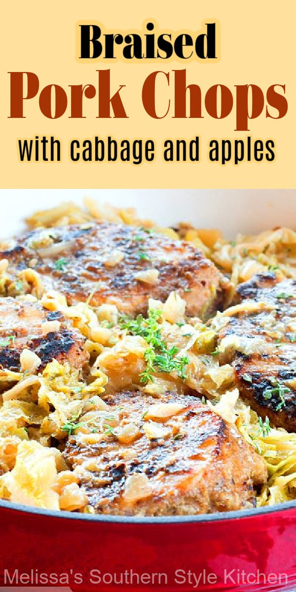 These thick cut pork chops are rubbed with Cajun seasonings then simmered with cabbage and apples until fall apart tender #porkchops #porkrecipes #cabbage #apples #braisedcabbage #braisedporkchops #fall #fallfood #southernrecipes #southernfood #harvestrecipes