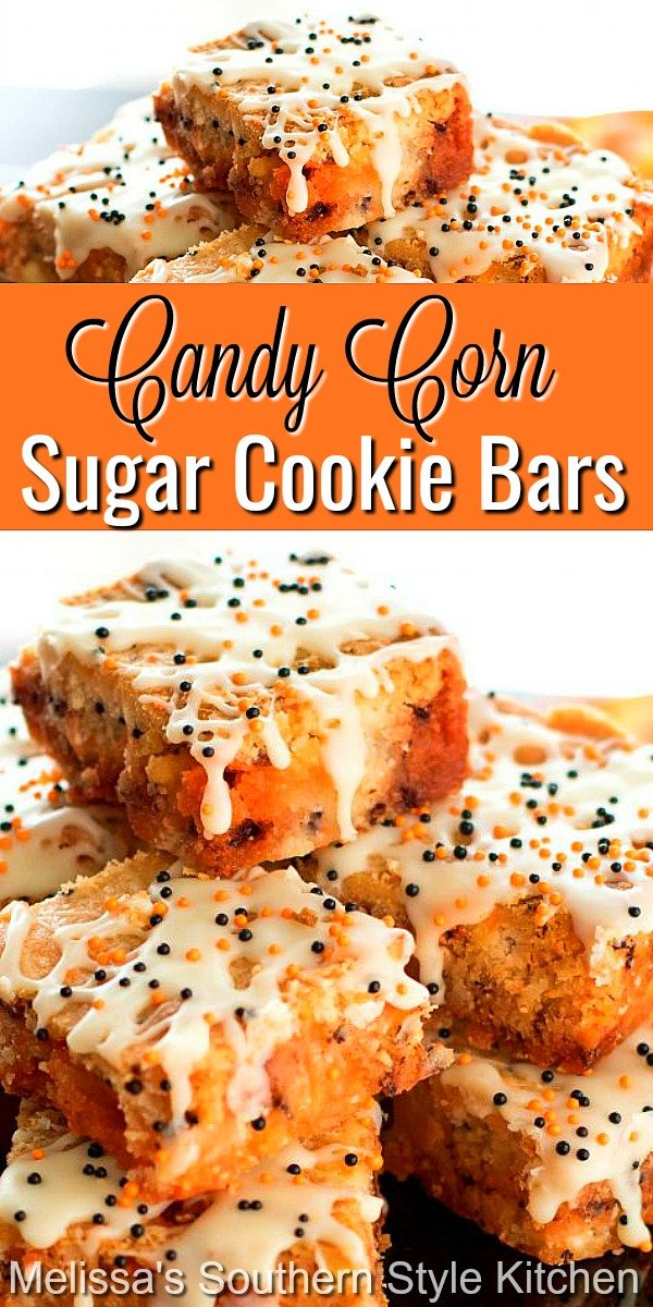 Kids of all ages love these Candy Corn Sugar Cookie Bars #sugarcookiebars #candycorncookies #candycornsugarcookiebars #candycorn #dessets #fallbaking #falldesserts #cookies #thanksgivingdessets #southernfood #dessertfoodrecipes #southerndesserts