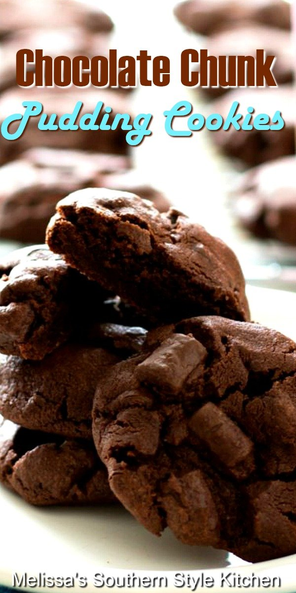 Get your chocolate fix with these double chocolate chunk cookies! #chocolatecookies #chocolatechunkcookies #cookierecipes #chocolatechipcookies #holidays #holidaybaking #desserts #dessertfoodrecipes #southernfood #puddingcookies #christmascookies #holidaydesserts