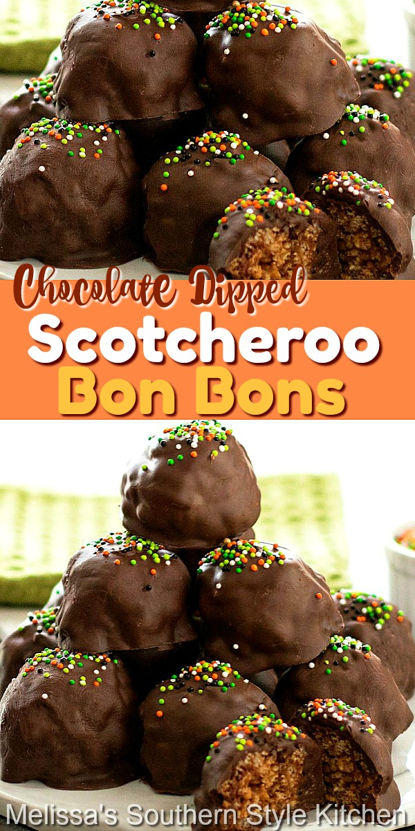 Kids of all ages love these Chocolate Dipped Scotcheroo Bon Bons #scotcheroos #Karosyrup #bonbons #peanutbutter #nobakedesserts #kidfriendly #chocolate #holidayrecipes #christmascandy #desserts #dessertfoodrecipes #southernfood #southernrecipes