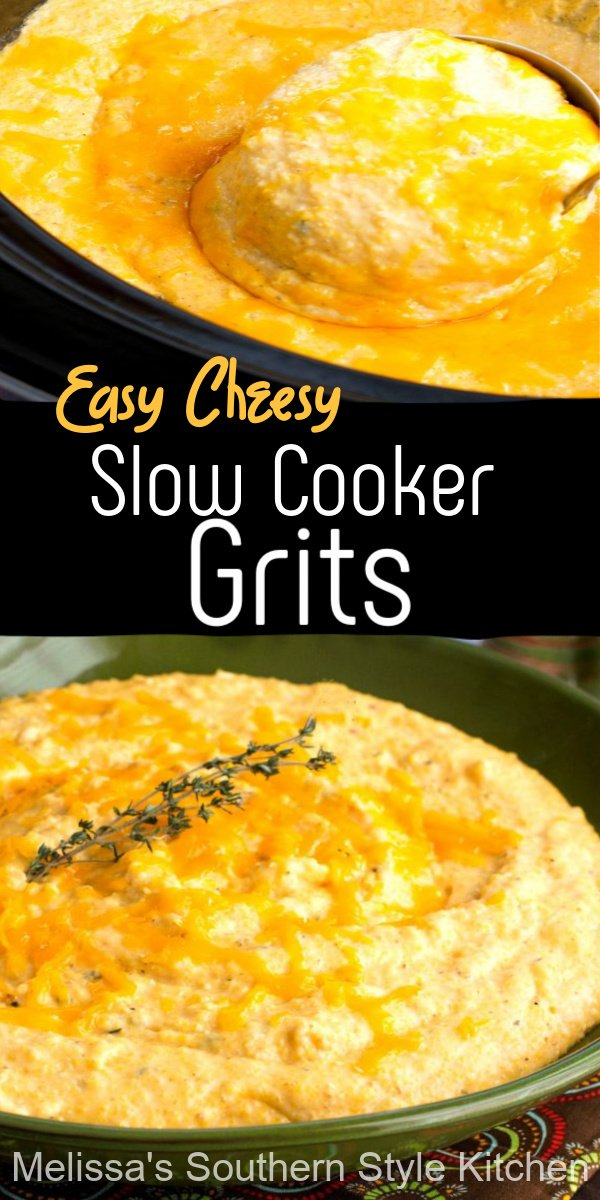 Once you make these dreamy Easy Cheesy Slow Cooker Grits in your crockpot you'll be hooked #cheesegrits #grits #slowcookedgrits #Southerngrits #southernrecipes #sidedishrecipes #cheddarcheese #crockpotrecipes #slowcookerrecipes #brunch #breakfast #dinner #dinnerideas